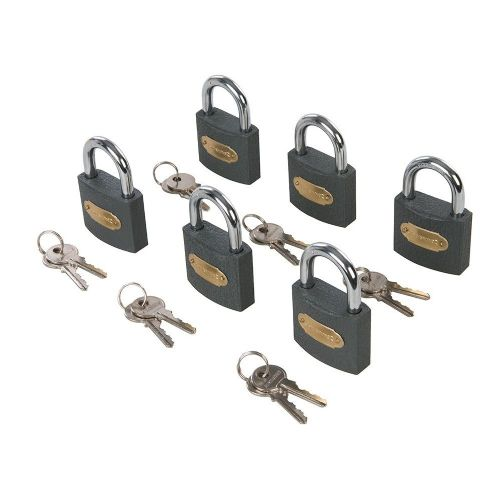 6 Pack Silverline 407238 Iron Padlock Keyed Alike 50mm